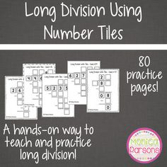 Help your students learn long division with this hands-on activity!These full-page sheets are long division problems, varying in difficulty, that students can solve using Number Tiles.This HUGE product includes:* 80 full-page long division problems for students to solve with number tiles* 80 full-page answer keys* 3 student answer sheet options* answer keys for student answer sheets* printable number tiles 0 - 9* suggestions for classroom implementationPlease see the preview to see all of…