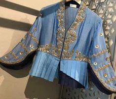 Beautiful Hand Embroidered Silk Jacket with modern cuts. Indian Designer Outfits, Designer Dresses, Designer Clothing, Red Lehenga, Lehenga Choli, Lehenga Blouse, Sharara, Sarees, Stylish Blouse Design