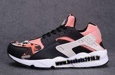Nike Air Huarache Run Knit Chaussures de Running Pas Cher Pour Homme Pink - noir - blanc - gris