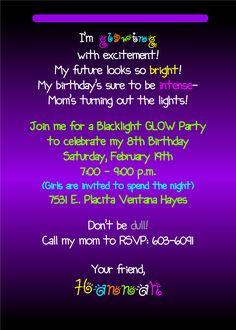 Glow In The Dark Invitation Wording Customized Glow In The Dark