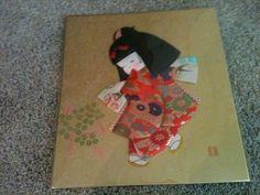 Signed Japanese Asian Dancing Geisha Girl Silk Fabrics Kimono Dolls Collage Art | eBay