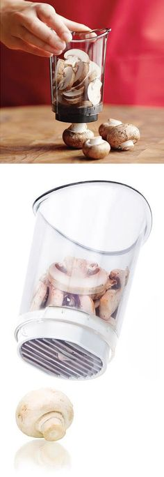 Mushroom chopper + catch cup // Press down to slice and collect in one simple action! Brilliant kitchen gadget!