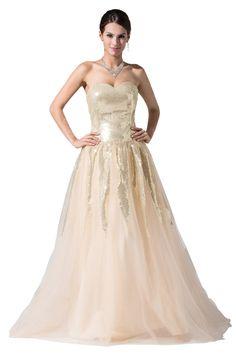 Amazon.com: Dressystar Women's A-Line Long Champagne Dress: Clothing