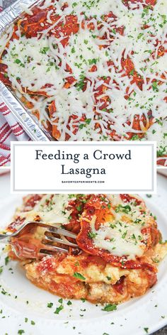 Giant No Boil Lasagna - Homemade Lasagna For a Crowd - Giant No Boil Lasagna is made up of layers of spinach, tomato, turkey sausage, and lots of CHEESE! This is the best homemade lasagna for a crowd! Make Ahead Lasagna, No Boil Lasagna, Baked Lasagna, Make Ahead Freezer Meals, Sausage Lasagna, Spinach Lasagna, Baked Ziti, Cooking For A Crowd, Food For A Crowd