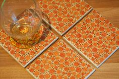 Ceramic coasters – orange floral print tile coasters – set of 4