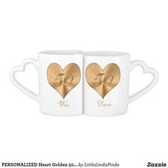 PERSONALIZED Heart Golden 50th Anniversary Mug Set