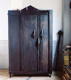 Old, rustic armoire Decor, Furniture, Painted Furniture, Cabinet, Rustic Cottage, Black Cabinets, Wood Cabinets, Primitive Furniture, Armoire