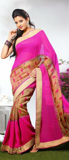 USD 47.51 Pink and Brown Silk Saree 31898