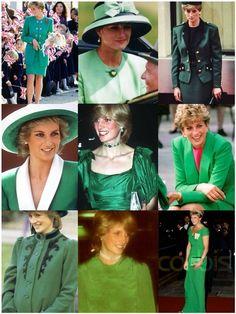 Princess Diana in Green.