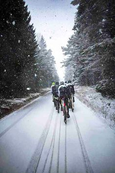 Cycling in the snow, definitely a challenge.