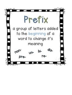 Prefixes and Suffixes FREEBIE