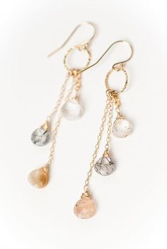 Ignite Collection - Rutilated Quartz Long Dangle Earrings for Women are hand made in America in our Floyd Va studio Diy Schmuck, Schmuck Design, Jewelry Accessories, Women Jewelry, Jewelry Design, Fine Jewelry, Designer Jewelry, Jewelry Shop, Heart Pendant Necklace