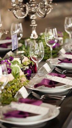 Aubergine wedding table decor - Brides of Adelaide Reception Table, Wedding Table, Our Wedding, Dream Wedding, Wedding Ideas, Wedding Book, Aubergine Wedding, Wedding Colors, Wedding Flowers