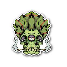 Three Eyed Budda Skull Smoking Marijuana Sticker   Vinyl Stickers   Marijuana Stickers   Clear Stickers