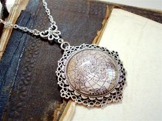 Antique Globe Necklace in Silver Antique - This is my world