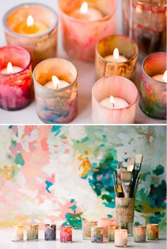 Painted Glass Votives