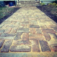 """Purington Block Pavers from from the Sioux City """"Battery Building."""". We saved them from the the dumpster... Now they are a walkway up to our home. #oldhouselove #diyvictorian #oldhouseenthusiast"""