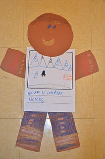 We made a chart of where we thought our gingerbread boys and girls might run to.  Then we turned our ideas into giant gingerbread boys and girls.
