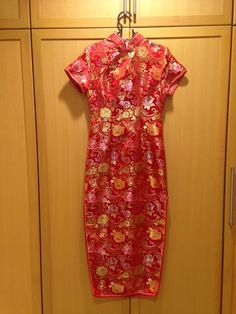 4252a939c65b Red Floral Qipao Long Traditional Chinese Dress Costume ( B88 W75 H94 L136  )  fashion
