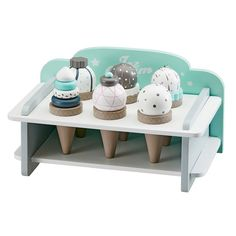 Kids Concept have made a very cute little Wooden Ice Cream Bar Set With A Stand. There are six gorgeous and of course different flavours of pretend wooden ice cream cones arranged in a very cool little white and mint green ice cream stand. Ice Cream Stand, Ice Cream Set, Scandinavian Toys, Play Shop, 6 Pack, Icecream Bar, Bar Set, Kids Furniture, Kids Bedroom