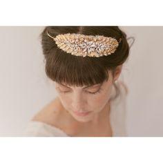 Gold leaf rhinestone freshwater pearl tiara 796. $295.00, via Etsy.