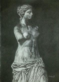 Venus de Milo, Charcoal on paper