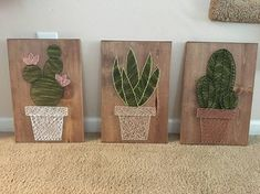 Welcome to my shop! Im a mother of two taking advantage of nap-time by creating amazing conversational piece string art. Each piece is cut, sanded, stained by me, customized by you and enjoyed by all. Cactus Garden This piece is measured at 11 inches tall and 14 inches wide. Saw