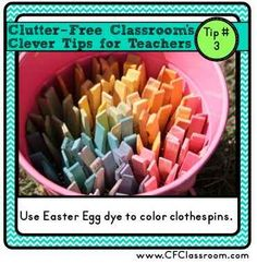 Leftover Easter egg dye can be used to color clothespins.