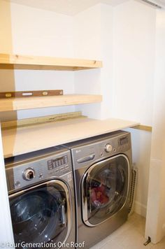 DIY Floating Shelves {laundry room} | Four Generations One RoofFour Generations One Roof