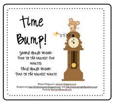 Pitner's Potpourri: Time Bump -- Freebie-Cute game for and Grade to teach telling time. Fun Math, Math Games, Math Activities, Math Stations, Math Centers, Telling Time Games, Second Grade Math, Grade 3, Teaching Math