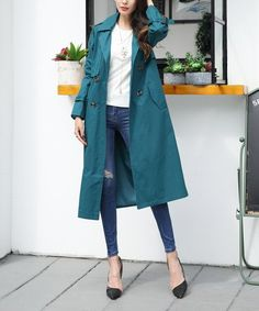 650a3e77affc Turquoise Tie-Waist Longline Trench Coat -