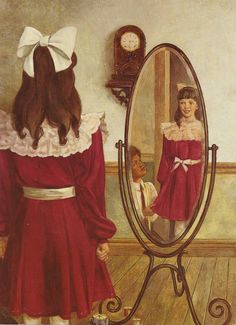 """American Girl Samantha Parkington tries on her Christmas dress in her book """"Samantha's Surprise""""."""