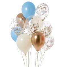 Baby Blue Confetti Baloons - Bubblegum Balloons - Pretty Party Supplies