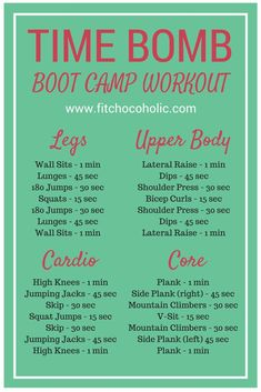 Total Body Time Bomb Boot Camp Workout - My WordPress Website Fitness Workouts, Sport Fitness, At Home Workouts, Fitness Tips, Fitness Models, Fitness Motivation, Health Fitness, Circuit Workouts, 30 Min Hiit Workout