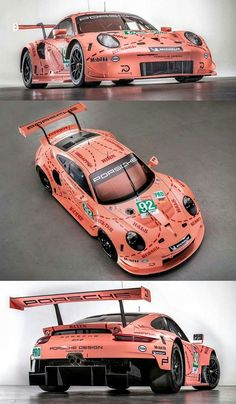 "2018 LeMans 24 - The Porsche Pink Pig returns! In Porsche painted one of the team's Le Mans cars in one of the wildest schemes ever seen on a race car. The car was a favorite among fans, and was variously called ""Truffle Hunter"", ""Rosa Sau"", "" Porsche 911 Rsr, Porsche Carrera, Carros Porsche, Porsche Motorsport, Ferrari, Gt Cars, Race Cars, Porsche Classic, Le Mans 24"