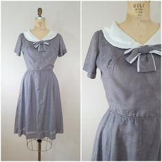 Vintage 1960s Dress / Grey Bow Dress / by ThriftyVintageKitten