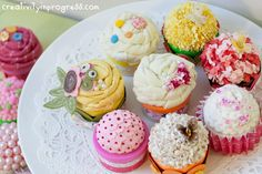 Mini playdoh jars, plastic easter eggs, and craftiness...pretty little play cupcakes