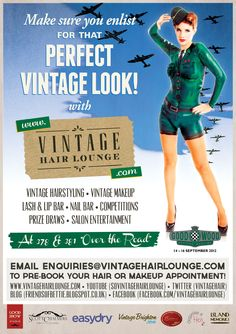 Vintage Hair Lounge at Goodwood Revival 2012 publicity. Phot by Scott Chalmers. Graphic Design by Cassie Leedham. Model Miss Vienna Green
