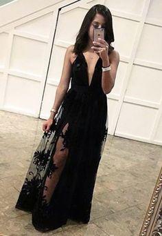 Charming Black Prom Dress, Sexy Sleeveless Prom Dresses,