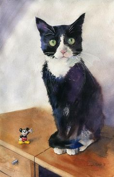 Print Watercolor Painting Tuxedo Black CAT ART Micky | eBay