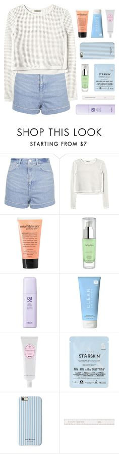 """hanging on by barely a thread at all"" by kristen-gregory-sexy-sports-babe ❤ liked on Polyvore featuring Topshop, Rebecca Taylor, philosophy, Gatineau, CLEAN, Davines, Starskin and Isaac Mizrahi"