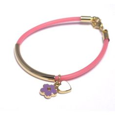"18k Yellow Gold Plated Purple White Enamel Hearts Flowers Pink Jelly Toddler Kids Girls Bangle Bracelet 40 mm + 1"" Kids Jewelry USA. $15.95. Pink Jelly Cord. Purple and White Enamel. Free Jewelry Pouch Included. 18k Yellow Gold Plated Brass. 40mm + 1"" Length"