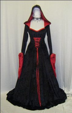 medieval renaissance vampire hooded gothic halloween dress custom made Medieval Dress, Medieval Clothing, Medieval Gothic, Gothic Outfits, Gothic Dress, Image Mode, Fantasias Halloween, Cosplay, Hooded Dress
