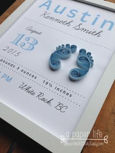 quilled pastel blue baby feet birth by APaperLifeOriginals on Etsy