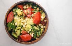 Tomato, Cucumber, Corn, and Avocado Salad