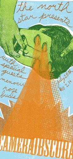 Concert poster:  Camera Obscura - Menocu - Rosebuds (Graphic design / illustration / rock poster / indie pop )