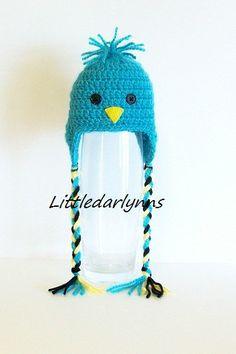 Janet - Emily Crochet Baby Bluebird blue bird Hat Beanie with Ear Flaps Braids Handmade Photo Prop