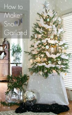 Things we Love to Make - Wintry Flocked Snow Garland | {Home-ology} modern vintage