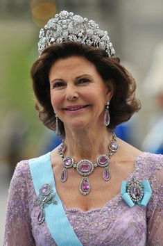 Queen Silvia of Sweden on the wedding day of her daughter, Crown Princess Victoria