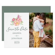 Spring Watercolor Peonies Wedding Save the Date Card - spring gifts beautiful diy spring time new year